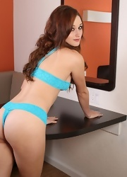 Hayden Strips And Teases In Her Blue Lace Lingerie - Picture 7